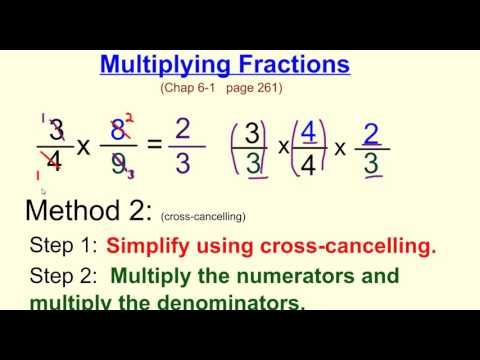 Multiplying Fractions w Cross canceling | math videos ...