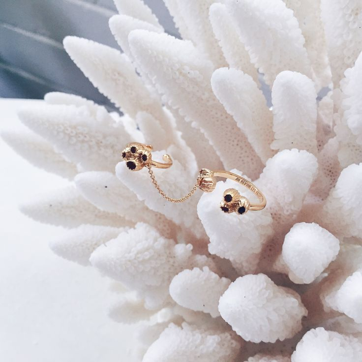 Double Chain Rings with Barnacles | Shop Now | Slim gold double rings joined by a fine chain with barnacle blossom motifs | Jewellery that evoke a  beautiful reminder of the ocean | Endless Stacked Rings | Au Revoir Les Filles | Shop these beautiful finely crafted barnacle chain rings now