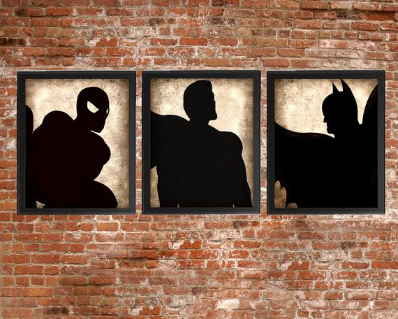 Superhero Set of 3 - photo prints - Type Poster Wall Art Textured Beige Black Vintage Style Superman Spiderman Batman Nursery Instant Decor