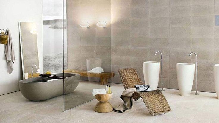 baignoire design en pierre et salle de bain moderne