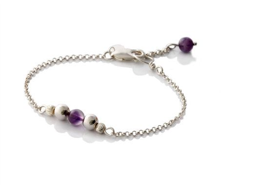 Minimalist Bracelet - Sterling Silver Bracelet - Natural Gemstone Amethyst Bracelet - KTC-316a