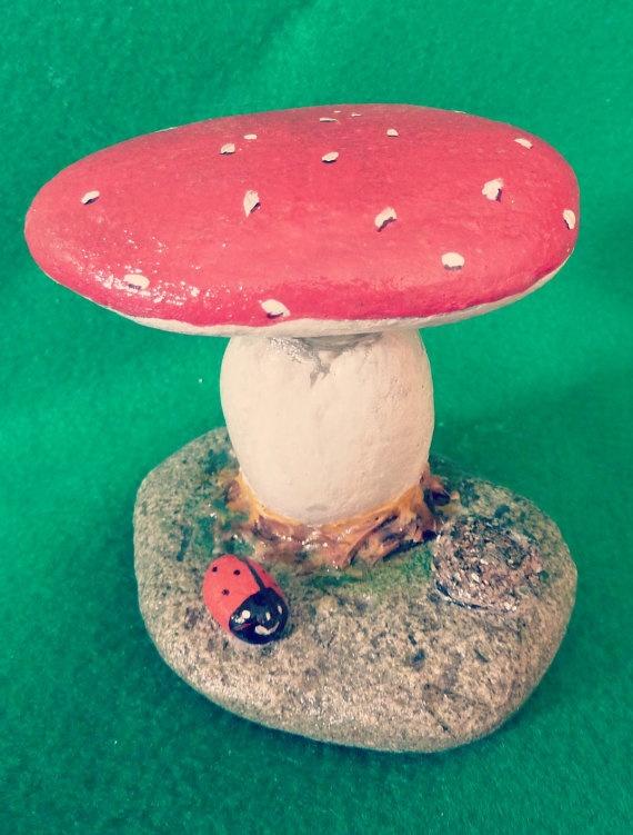 Mushroom With Ladybug Hand Painted Stone
