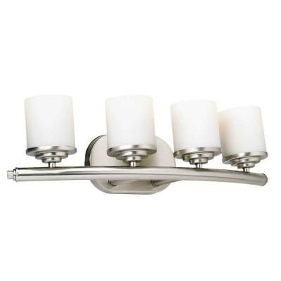 Talista 4-Light Brushed Nickel Bath Vanity Light with Satin Opal Glass Shade-CLI-FRT5105-04-55 - The Home Depot
