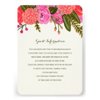 Hand painted pink and red floral design by Shelby Allison. #wedding #insert #directions #cards #card #programs #rustic #magenta #garden #vintage #purple #flower #floral #design #pink #red #fall #autumn #bright #jewel #tones #tone #toned #colorful #boho #painted #hand #flowers #green #orange #seed #packet #hot #summer #girly #stylish #backyard #diy #bouquet #drawing