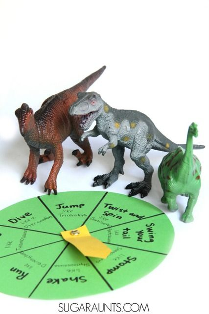 Dinosaur gross motor movement game based on the book, Dinosaurumpus from Sugar Aunts