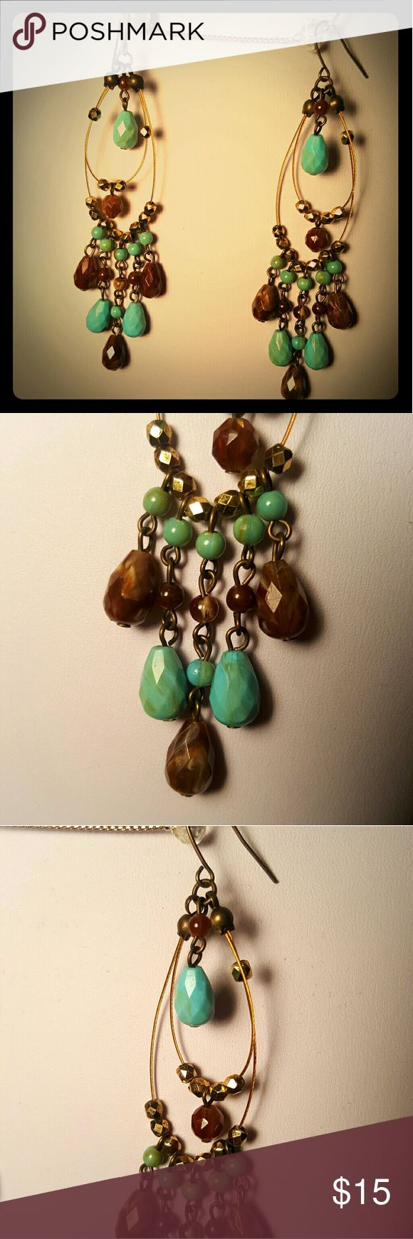 Turquoise and Brown Chandelier Earrings I made these fun earrings. Natural colors Jewelry Earrings