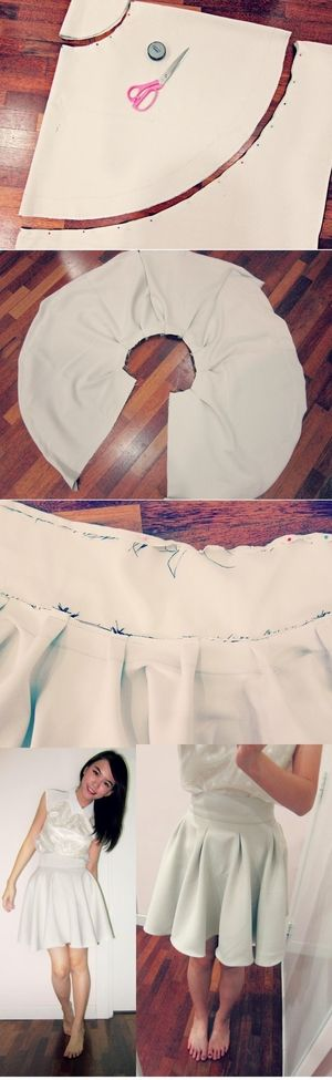 DIY White flaire skirt