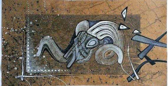 RAMS SKULL 3  Series  Handmade 2003 Artwork Work by AthenaArtist