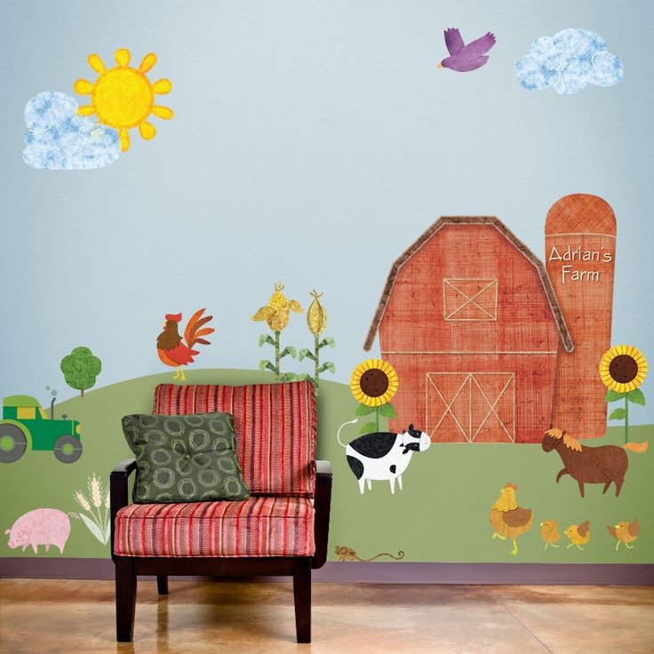 Personalized Farm Wall Stickers U0026 Decals For Kids Room And Baby Nursery  Farm Theme Wall Mural Part 56