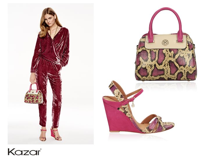Exotic snakeskin accents in shades of pink are an absolute must-have this season. Kazar accessories featuring this trendy motif make a perfect outfit.