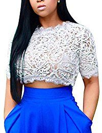 New Joseph Costume Short Sleeve Mock Neck Sheer Floral Lace Crop Top online. Find the perfect Vivian's Fashions Tops-Tees from top store. Sku ELQJ99077ROGC28115