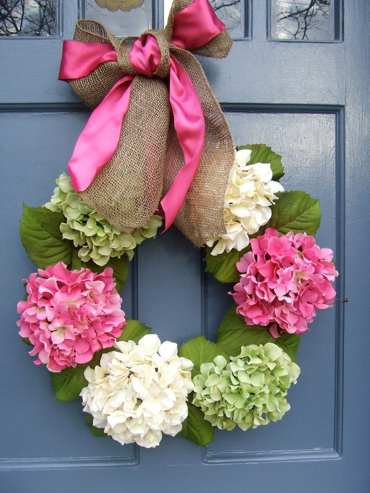 Hydrangea Spring Wreath LG Pink Green and by MonicaMurrayHome. $70.00, via Etsy.: Doors Decor, Satin Ribbons, Front Doors, Hydrangeas Spring, Easter Wreaths, Burlap Bows, Spring Wreaths, White Hydrangeas, Hydrangeas Wreaths