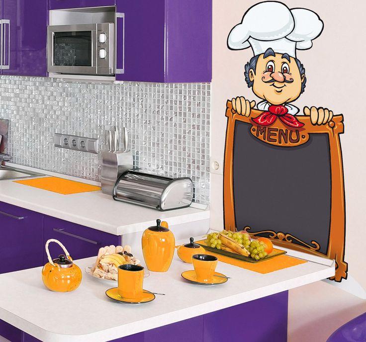 Vinilo decorativo chef menú pizarra