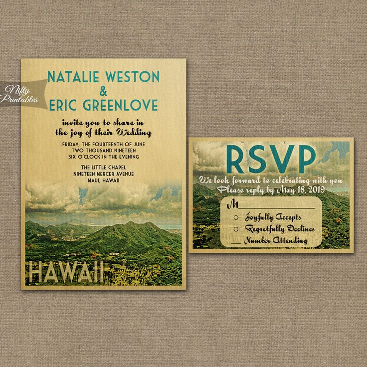 Hawaii Wedding Invitation Printable Vintage Hawaiian