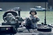 1988 presidential candidate Michael Dukakis in an M1 Abrams tank in a photo-op.