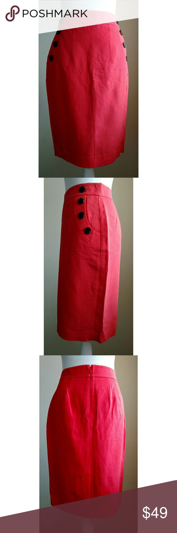 Ann Taylor LOFT Sailor Pencil Skirt - Size 4 - NWT Ann Taylor LOFT Sailor Pencil Skirt - Size 4 - New with Tags (NWT)  Sailor style pencil skirt in bi-stretch fabric has for buttons lining each pocket.  Hidden back zipper.  Back vent. Front slash pockets.  Lined. Wear to work.  Color:  Bright Red Coral  Style: 334016  Materials: 75% rayon, 25% cotton; Lining: 100% polyester  Dry clean  No stains, holes, or other damage LOFT Skirts Pencil