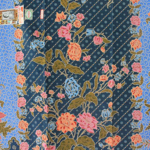blue tone and flowers pure cotton traditional by TheThailand