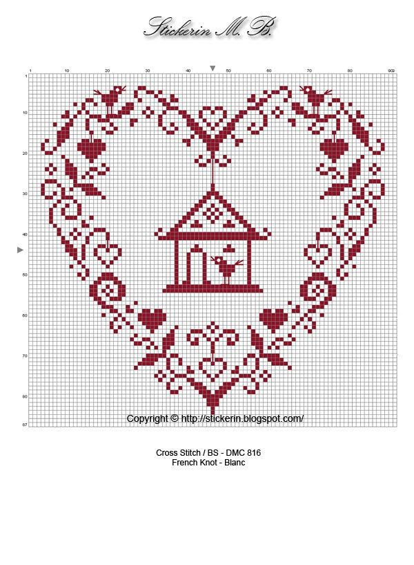 monochrome bird heart point de croix (embroidery/cross stitch)