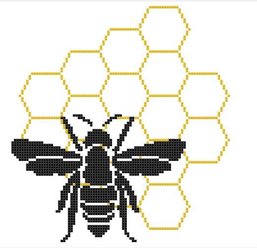 Bee Honeycomb Modern Counted Cross Stitch by RhiannonsCrossStitch