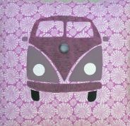 Gecko Fabric Art - applique quilted cushion cover - campervan design