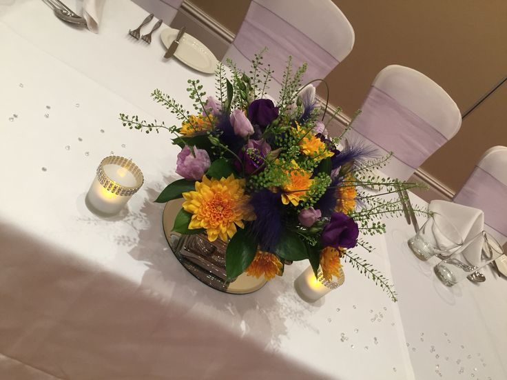 Purple and yellow small centrepieces