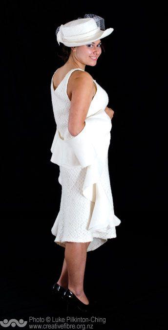 SENTOSA SILK AWARD. Sponsored by Sentosa Textiles (For the most outstanding silk rich garment) --- Snowdrift (May Bass, Porirua) --- Felted dress, hat and wrap. 85% silk, 15% Merino.
