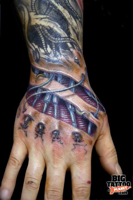 17 best images about bio mechanical tattoos on pinterest for Electric hand tattoo