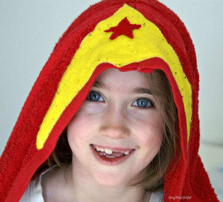 Superhero Hooded Towels Free DIY Sewing Tutorial.