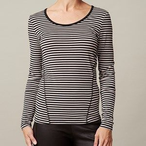 ANASTASIA T-shirt plain, black/silver grey stripe. The shirt you're gonna love because of its softness.  Made of modal which is coloured by the eco-tex 100 standards.