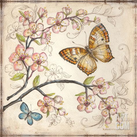 """Le Jardin Butterfly II"" Art Print by Kate McRostie at Art.com"