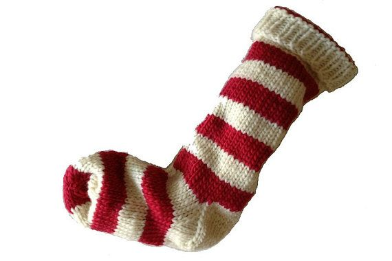Hand Knit Christmas Stocking Hand Knit Natural White and Red Striped Santa Sock