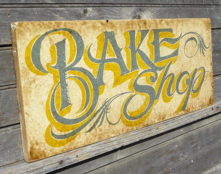 vintage signs images | Bake Shop Sign, faux vintage original , hand painted wood sign