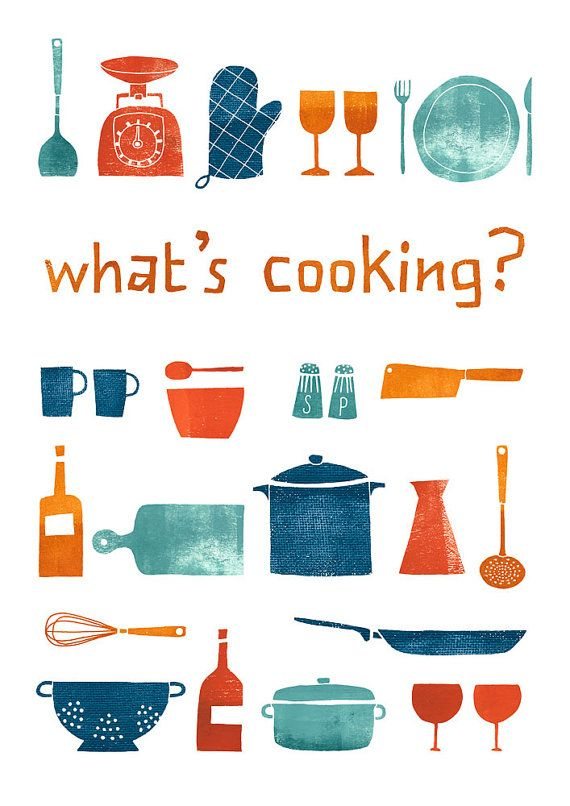 What's cooking, kitchen print by Leen's. mid-century-esque