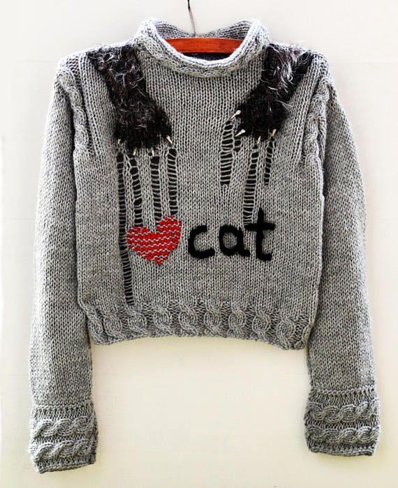 Grey sweater handmade Gray jumper love cat Pullover knitwear