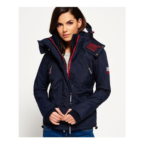 Superdry Hooded Wind Yachter Jacket ($100) ❤ liked on Polyvore featuring navy and superdry