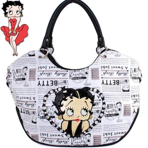 $35.99Amazon.com: Betty Boop Fashion Exotic Raised Gemstones Rhinestone Studded Adjustable Shoulder Strap Tote Hobo Embroidered Newspaper Print Handbag Purse in White: Clothing