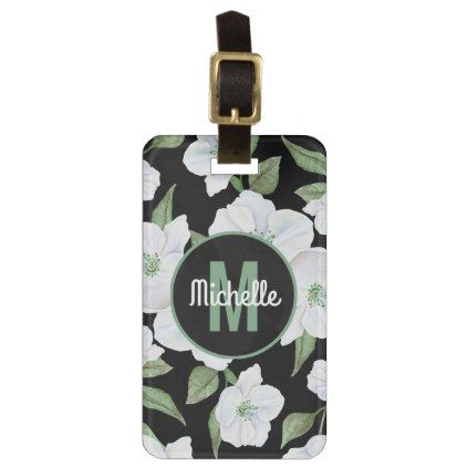 Personalized Elegant Floral Travel Monogram Luggage Tag - girly gift gifts ideas cyo diy special unique
