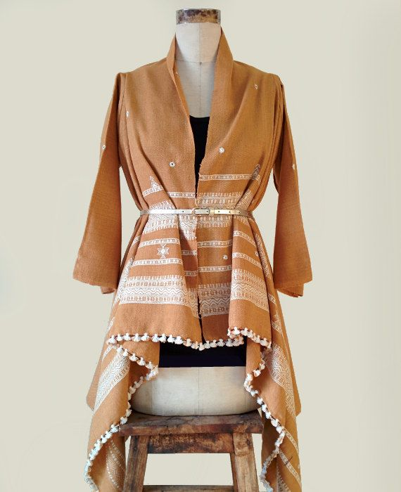 Camel Color Kutch Handwoven and Embroidered Shawl Jacket by MograDesigns