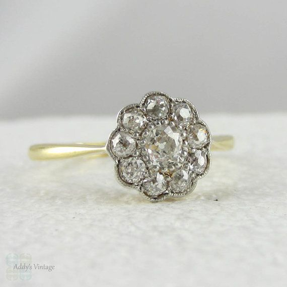 unique wedding diamond ring rings daisy style engagement bridal cuts edwardian real