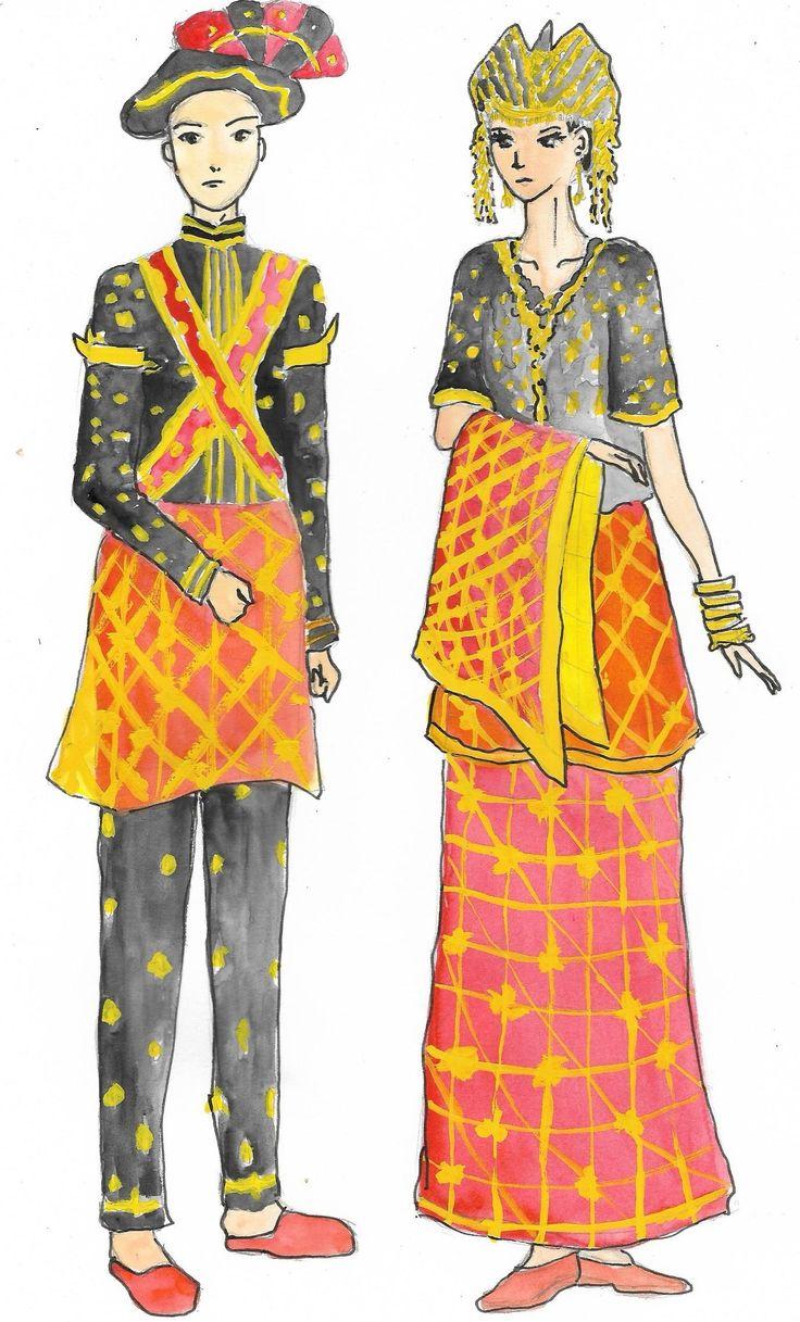 Pakaian adat wanita Sumbawa mengenakan lamung (baju) lengan pendek mirip baju bodo (Sulawesi). Baju ini bersulamkan benang emas dengan motif bunga-bunga. Pada bagian bawahan, mereka menggunakan tope belo (rok panjang) dan tope bene (rok pendek) yang dikenakan secara pertumpuk. Keduanya dihiasi motif bunga.  Para pria Sumbawa mengenakan gadu atau baju lengan panjang warna hitam. Baju ini berhiaskan sulaman benang emas bermotif bunga.  Mereka juga menggunakan penutup kepala bernama pasigar…