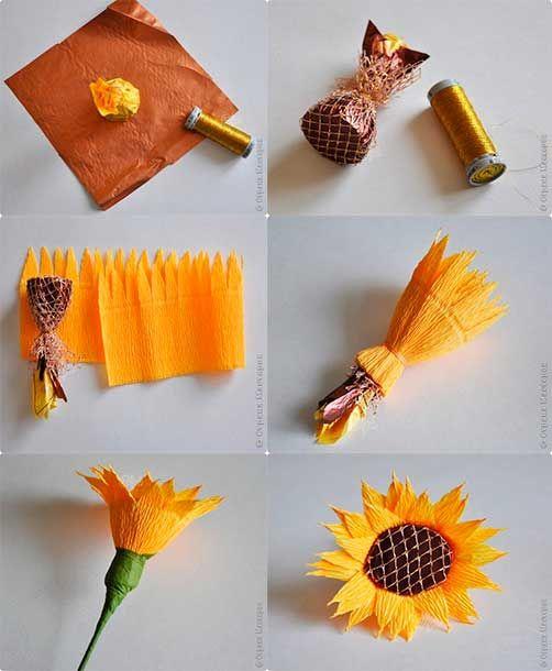 como hacer girasoles | Como-hacer-girasoles-de-dulces-y-papel-corrugado