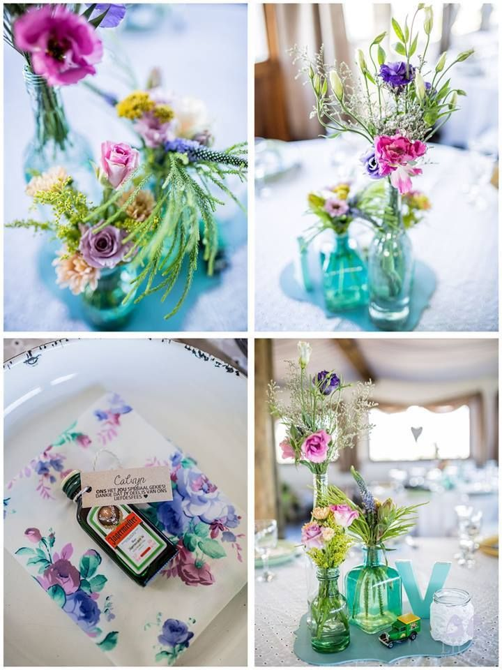 Vintage pastel colour wedding - Table decor