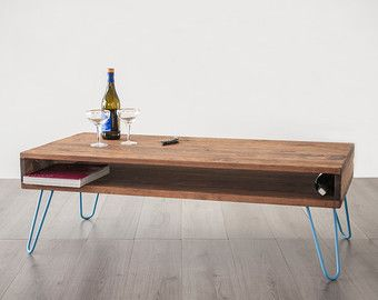 Coffee table Storage solid wood gold hairpin legs table by dokke