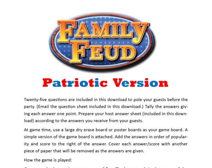 Patriotic Friendly Feud - Printable Party Game - 4th of July Game