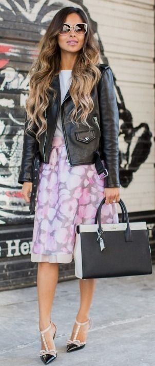 Kate Spade New York Leather Moto Jacket // Kate Spade New York Cotton Candy Taye…