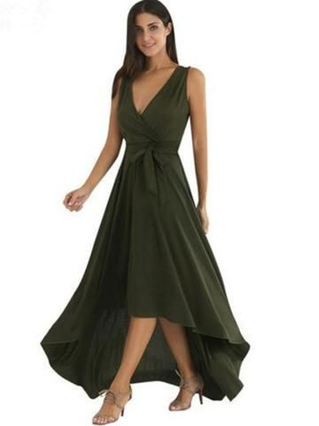 Army Green Flowing Dress