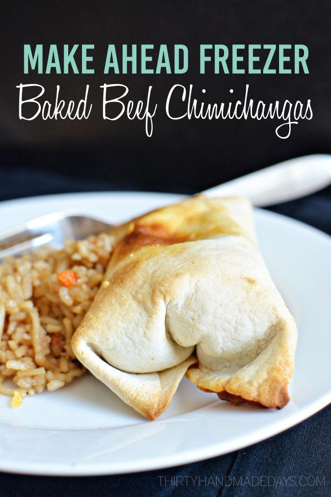 Make Ahead Freezer Baked Beef Chimichangas - easy to dinner recipe make from www.thirtyhandmadedays.com