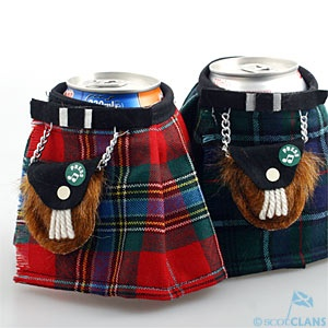 Musical Can 'Kilt' - In Stock - New  Known in Australia as a 'stubby holder' this helps keep your can cold and your hand warm. Each little kilt has a velcro fastening. Insulated inner lining and comes with mini sporran attached.    These are made in a wide range of clan tartans - perfect for the clan barbecue.