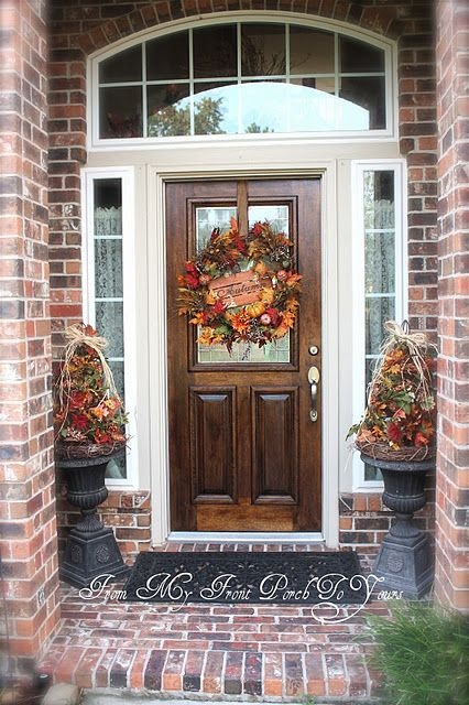 90 Fall Porch Decorating Ideas, I never thought about using my little Christmas trees for fall decorating. Hmm!