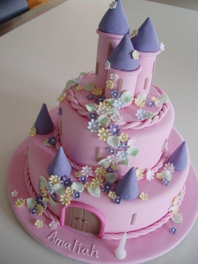 Schloss-Disney-Mädchenkind des Geburtstagskuchens rosa   – gâteaux